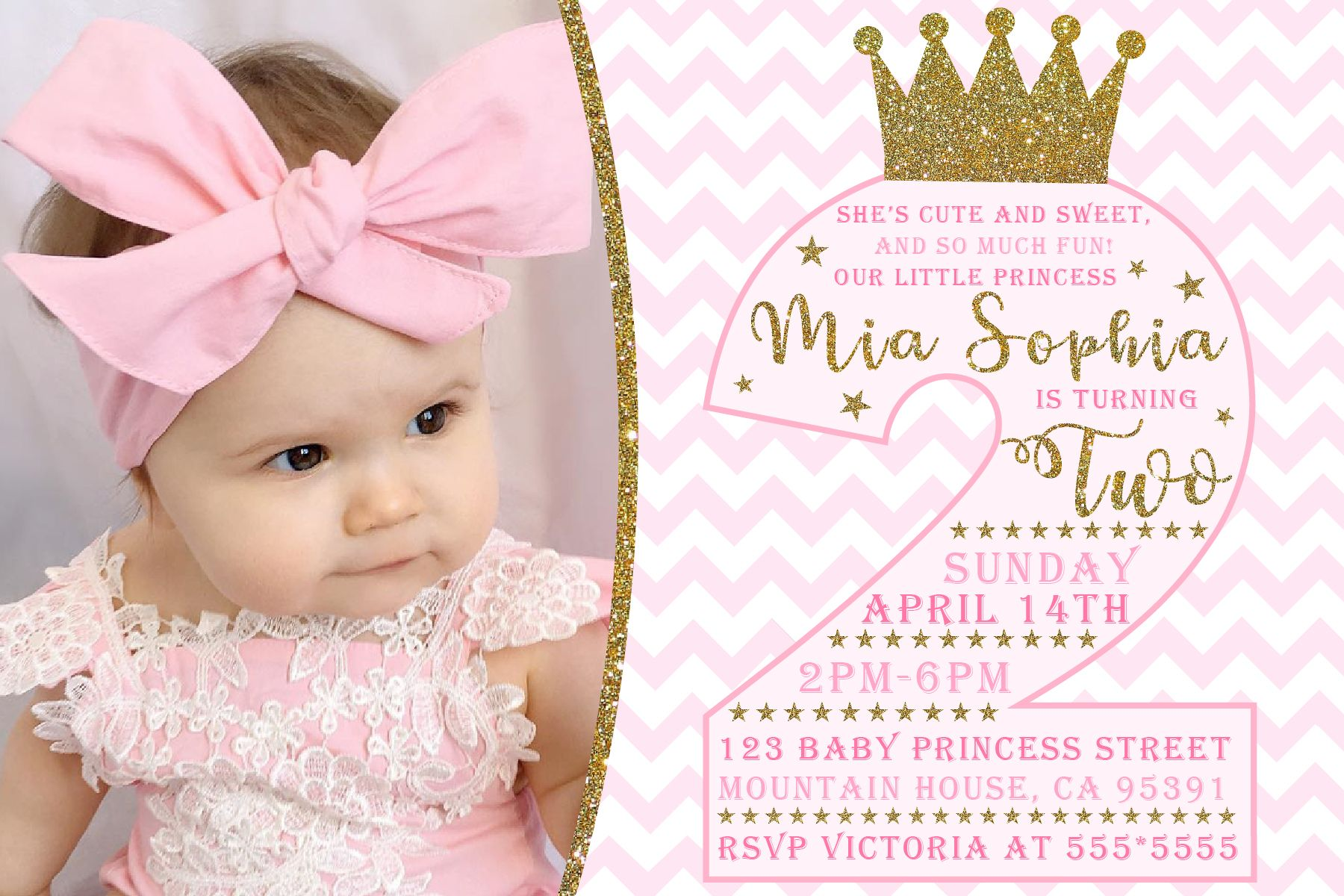 Princess Second Birthday Invitation Thank You Card Included Printable Digital With Picture Bestgraphicsonline Printableinvite