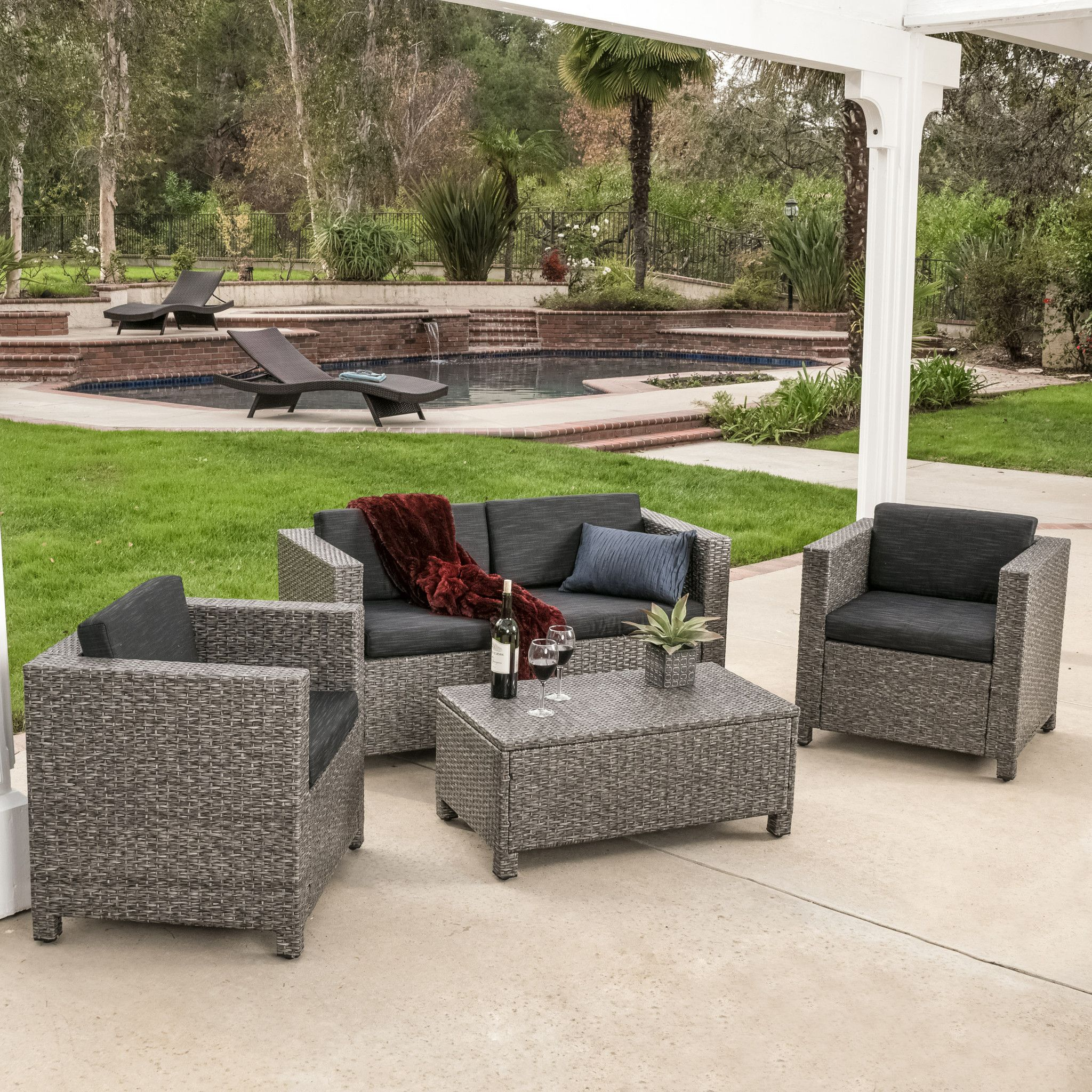 Venice Outdoor 4pc Grey & Black Sofa Set