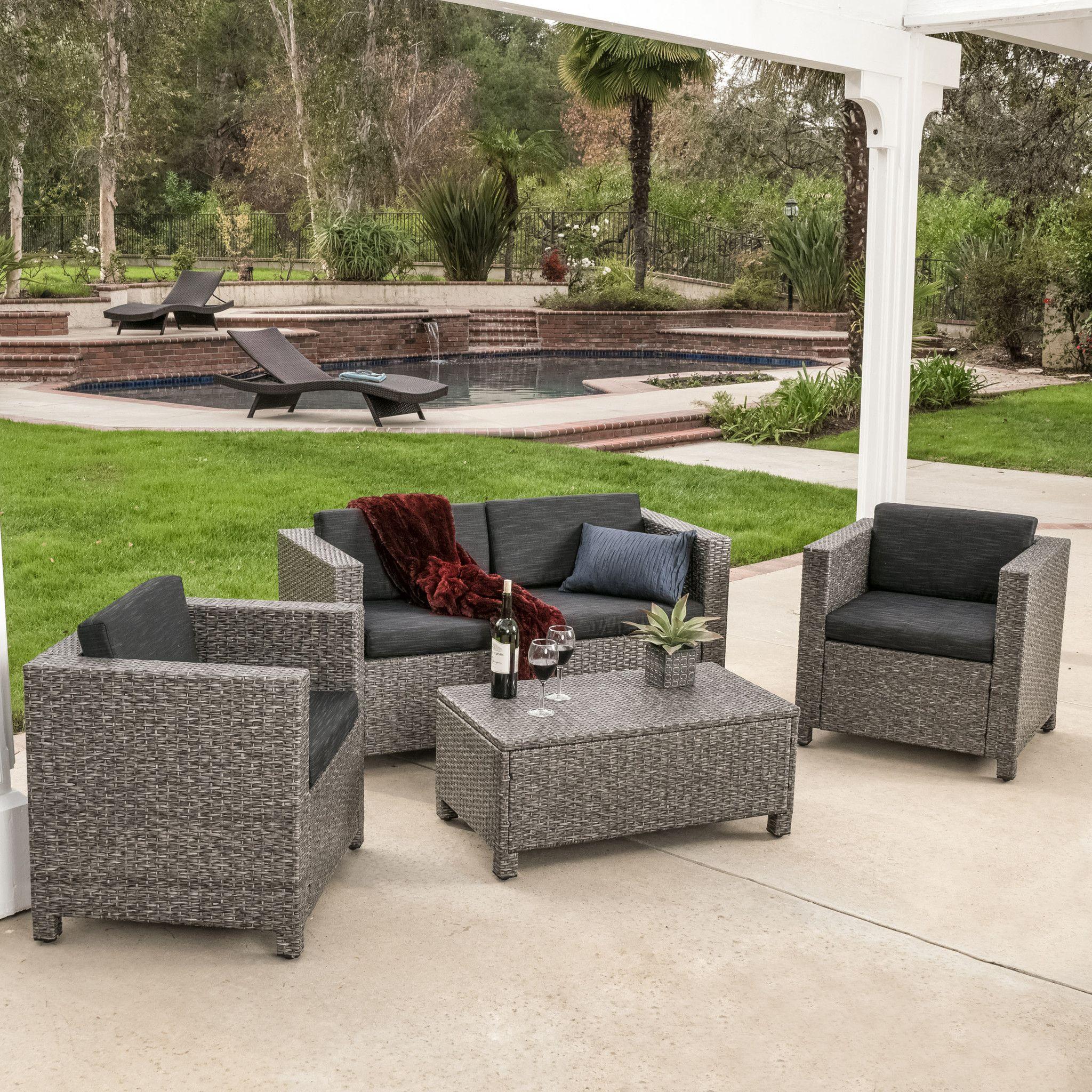 Venice Outdoor 4pc Grey Black Sofa Set