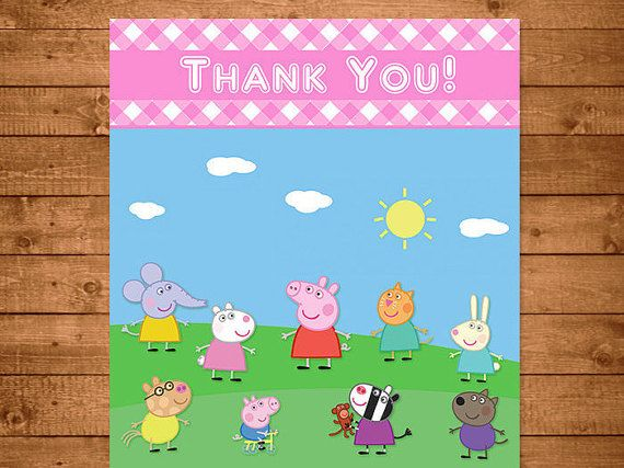 Peppa Pig Personalized Printable Thank You Card Select Between 4 X 6