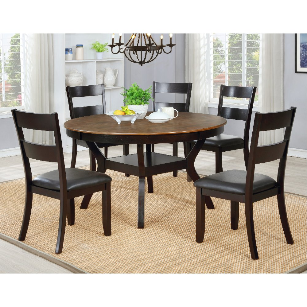 Chocolate Brown Round 7 Piece Dining Set Jackson Round Dining