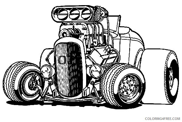 Hot Wheels Coloring Pages Big Hotrod Car Coloring4free Coloring4free Com Cool Car Drawings Cars Coloring Pages Art Cars