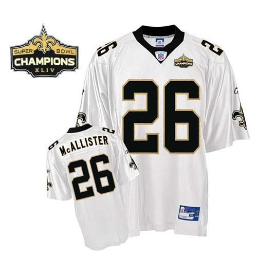 quality design 0c4be f1f77 Saints #26 Deuce McAllister White Super Bowl XLIV 44 ...