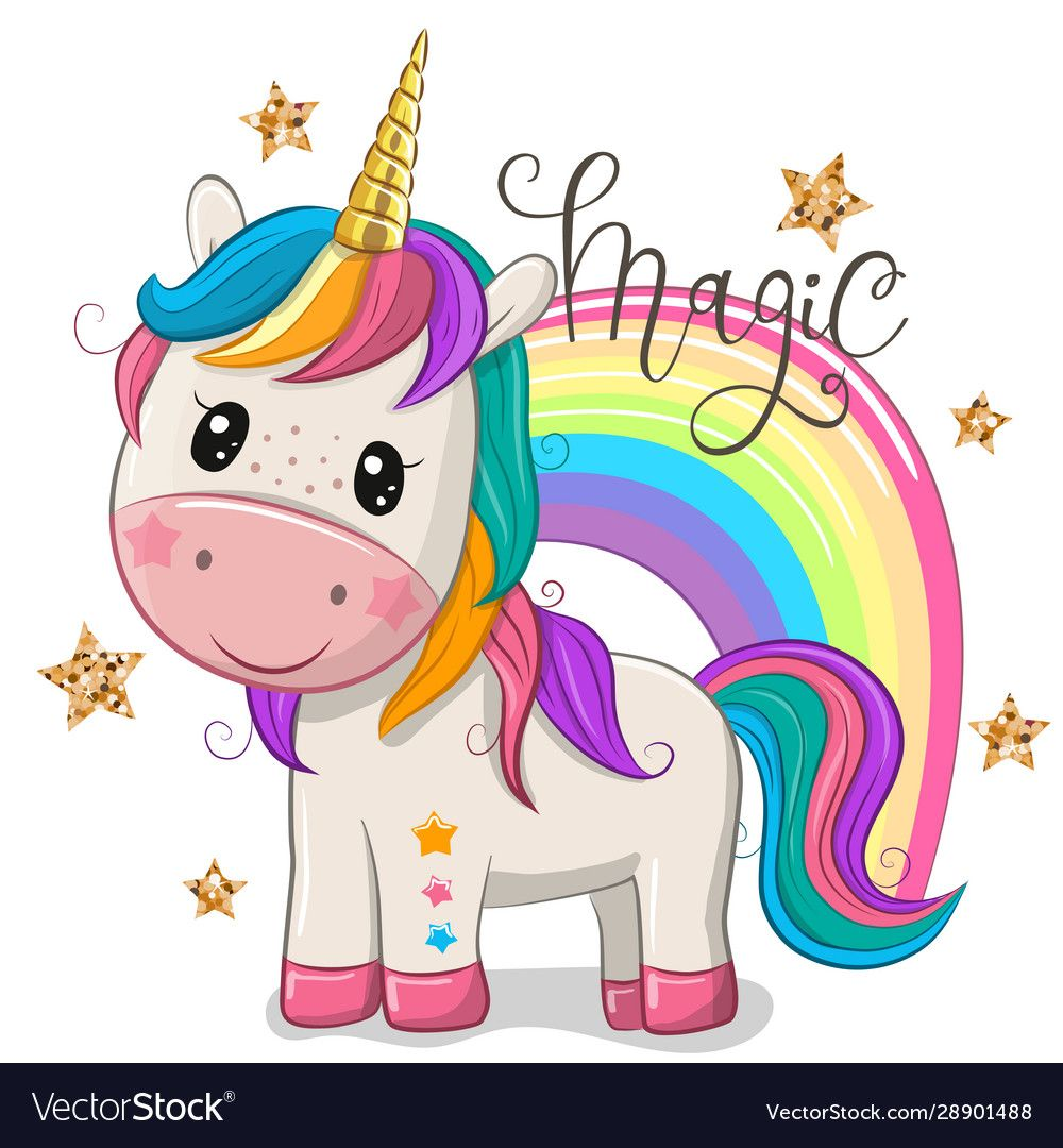 Cute Cartoon Unicorn With A Rainbow Isolated On A White Background