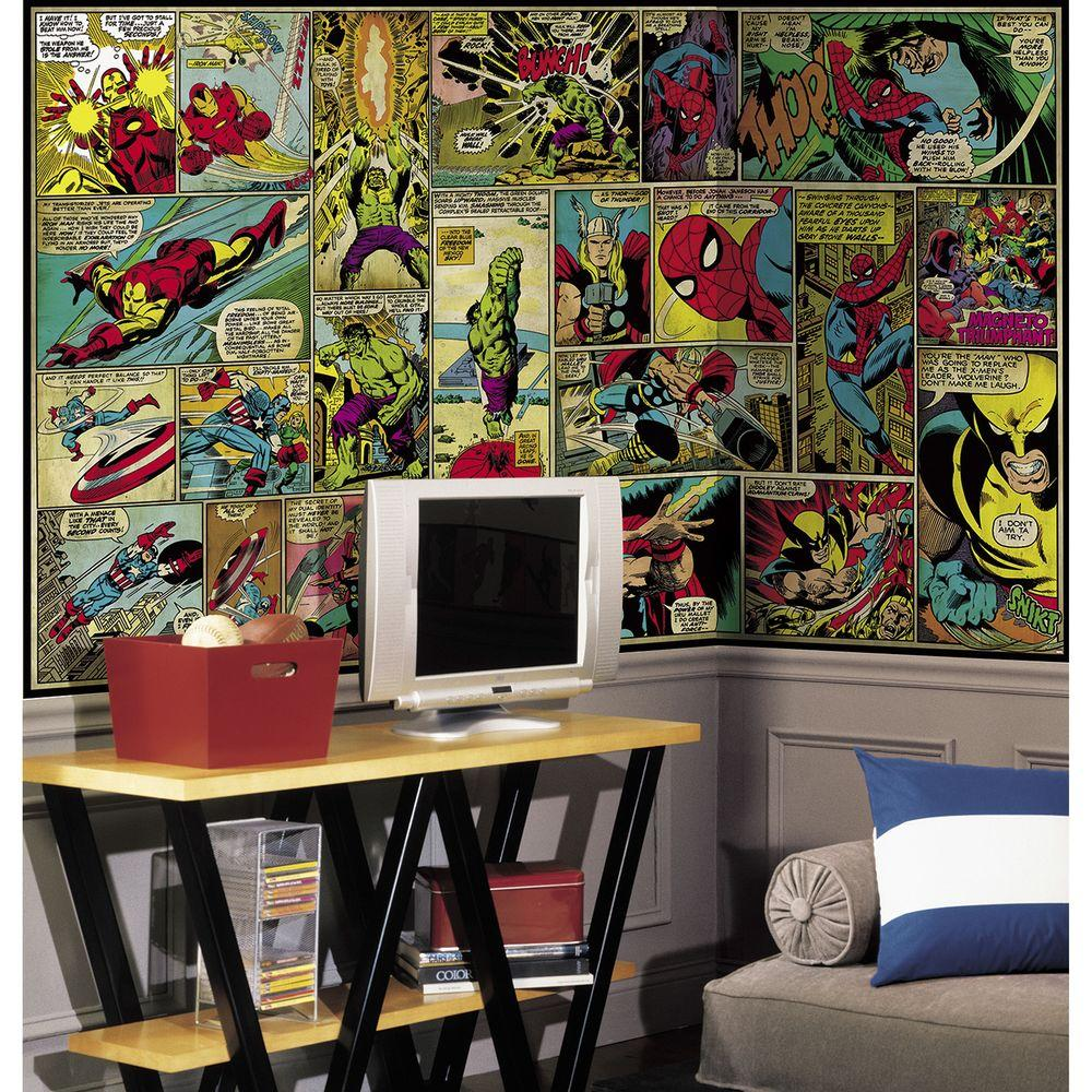 Roommates 72 In X 126 In Marvel Classics Comic Panel Ultra Strippable Wall Mural Wall Murals Kids Bedroom Designs Mural