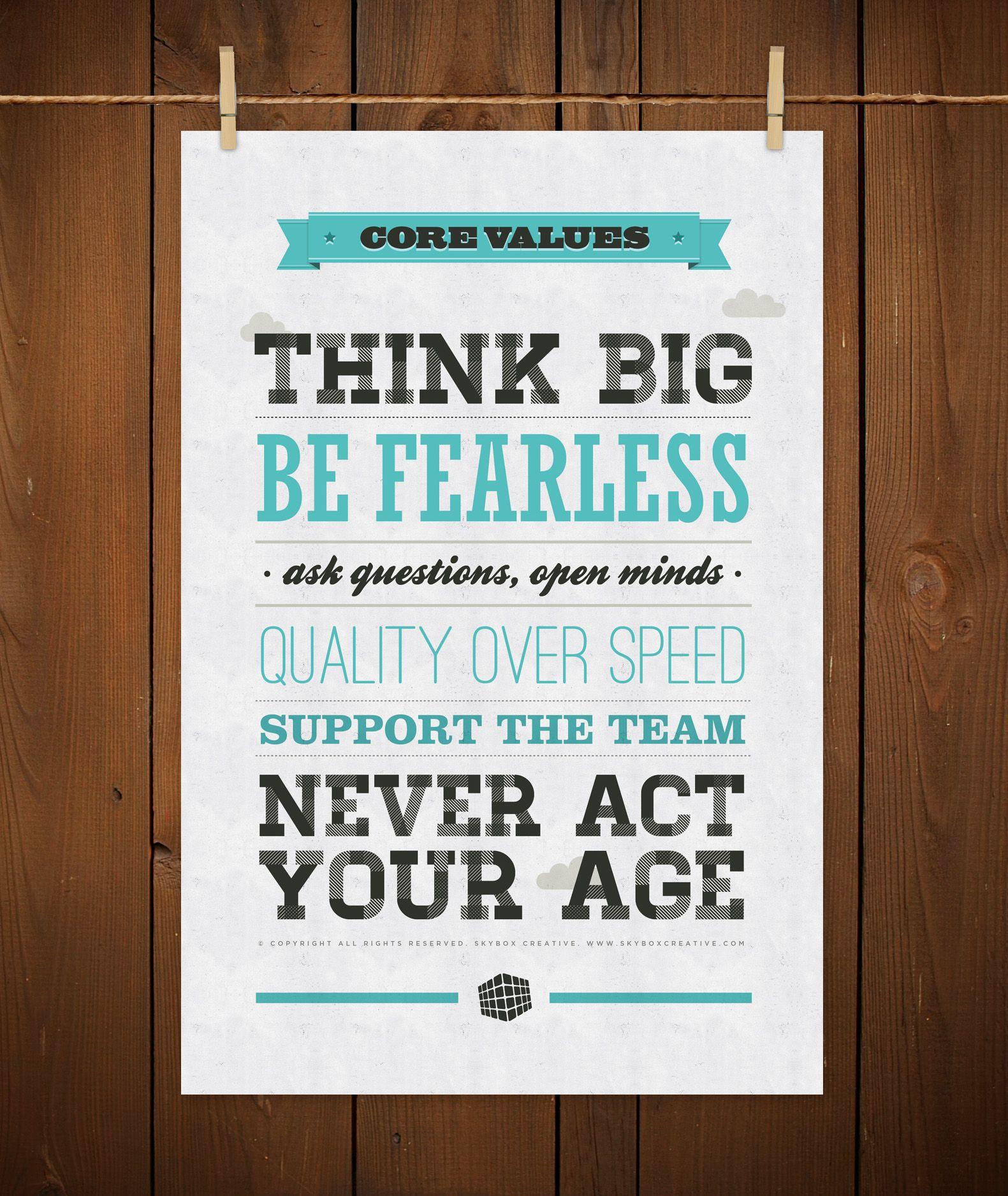Poster design company - Skybox Creative Core Values Poster Design