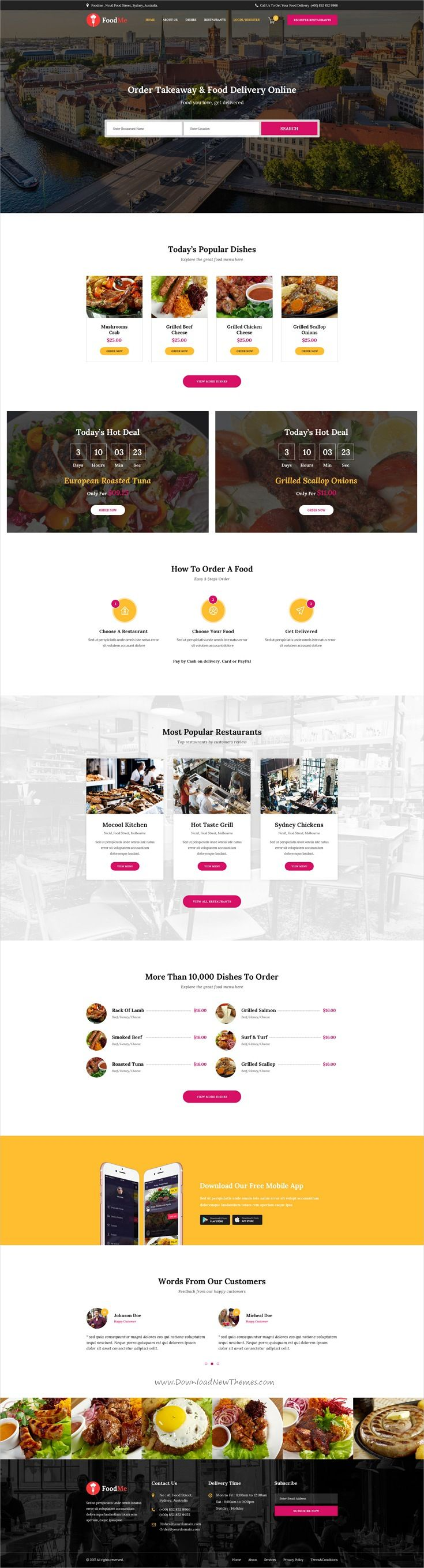 Foodme Is Clean And Modern Design Psd Template For Food Delivery