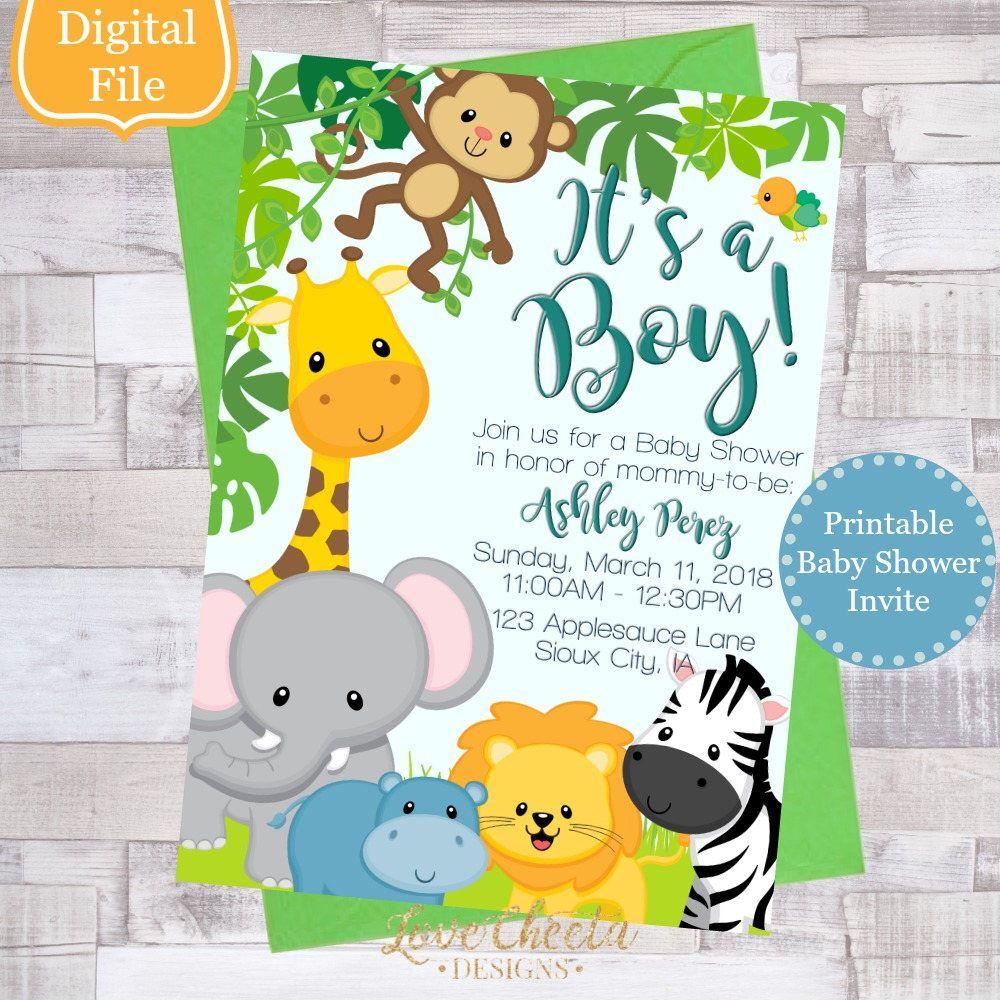 Safari Themed Baby Shower Invitation from my Etsy shop https://www ...
