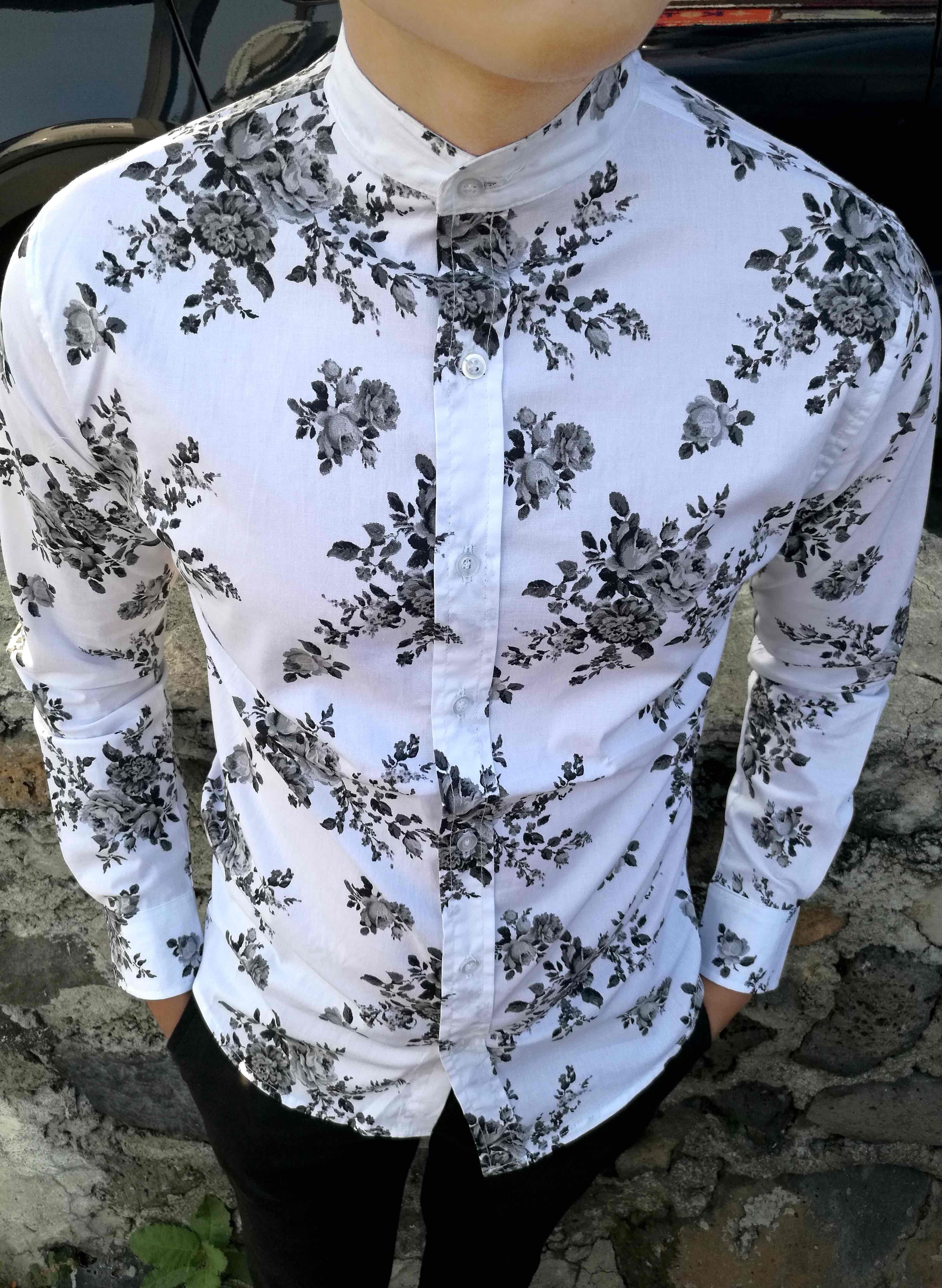 Camisa Slim Fit Flores para caballero  599  43293fa8b74f9