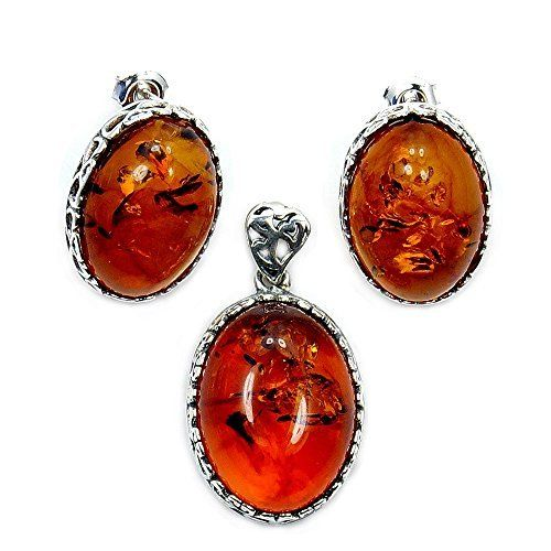 Exquisite Sterling Silver Baltic Amber Earrings and Pendant Set  Price : $89.95 http://www.silverplazajewelry.com/Exquisite-Sterling-Silver-Earrings-Pendant/dp/B00LGX1306