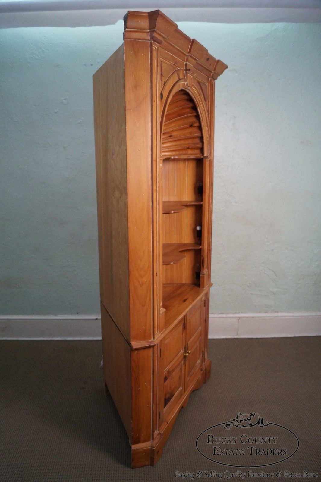 in Antiques, Furniture, Cabinets & Cupboards - Harden Large Pine Architectural Shell Carved Goddard Corner Cabinet