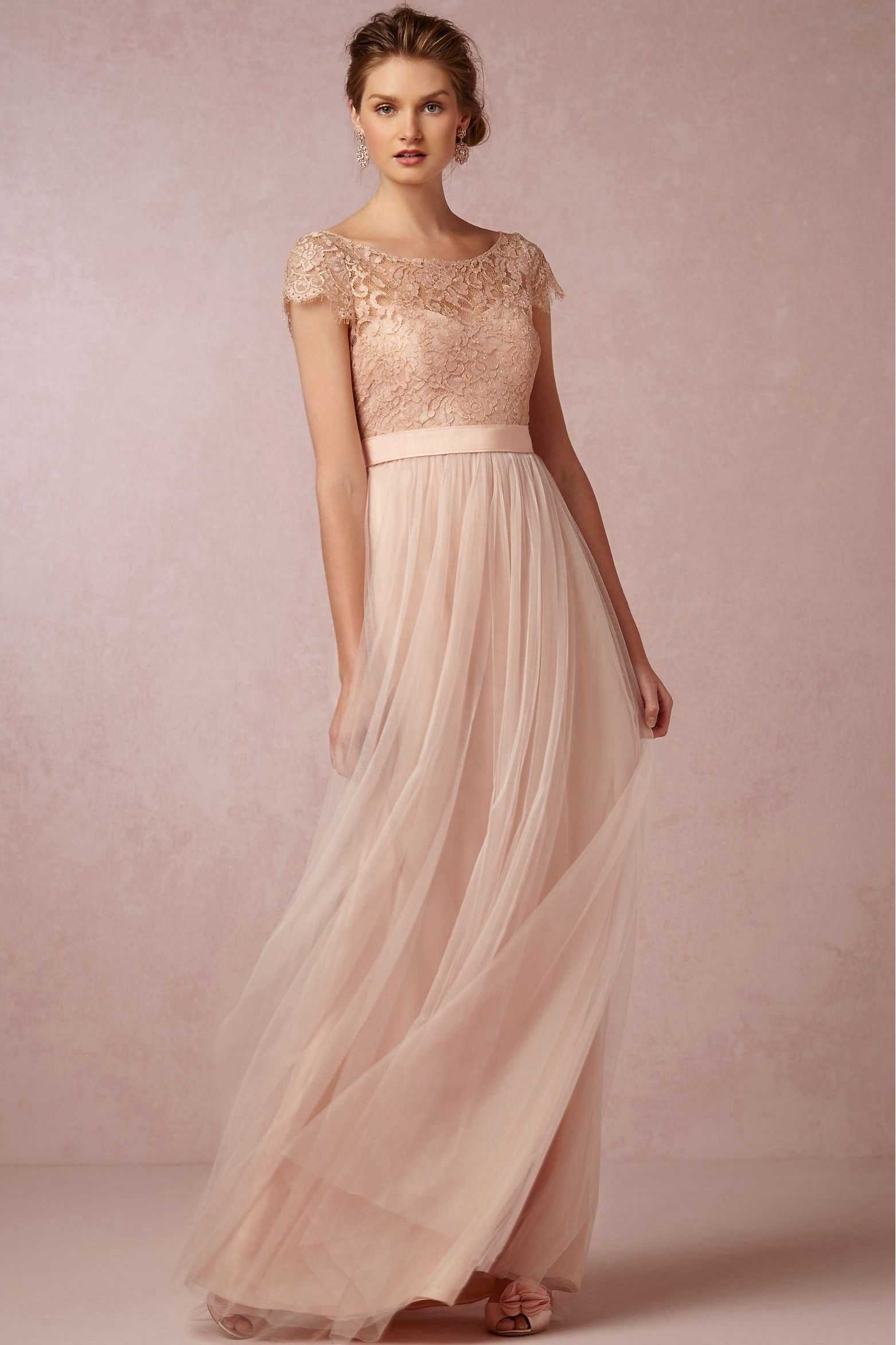 Affordable Price of A-line Scoop Floor-length Tulle Fabric Pink ...