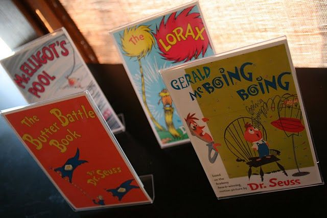 great decor idea! print up pics of dr seuss book covers and put them