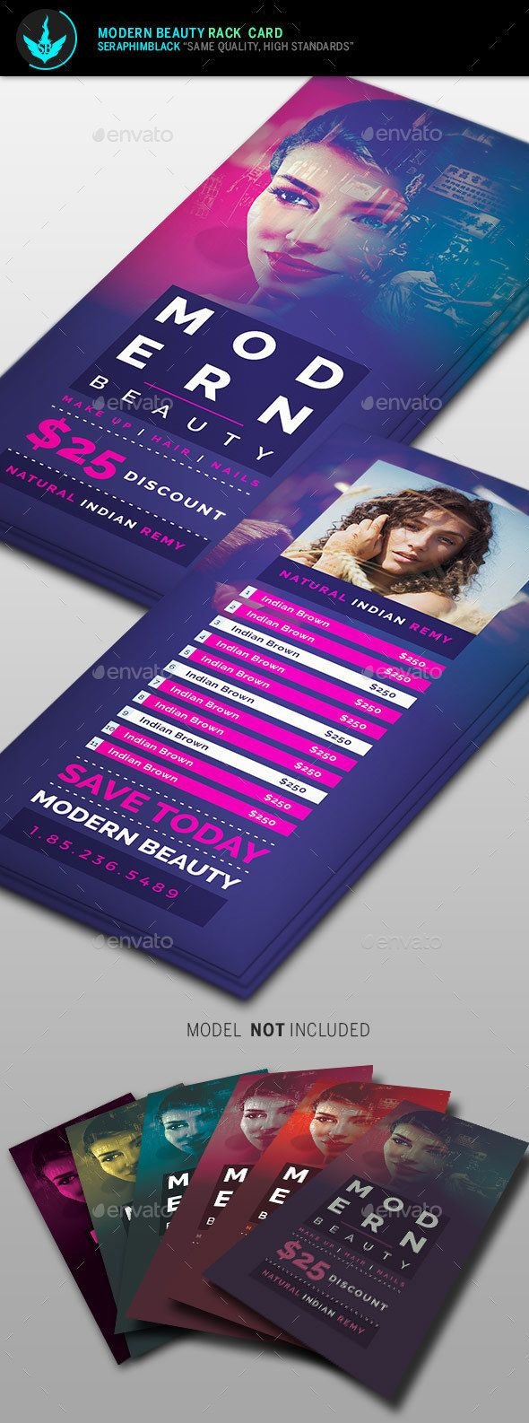 Modern Beauty Rack Card Template  Card Templates Modern And Fonts