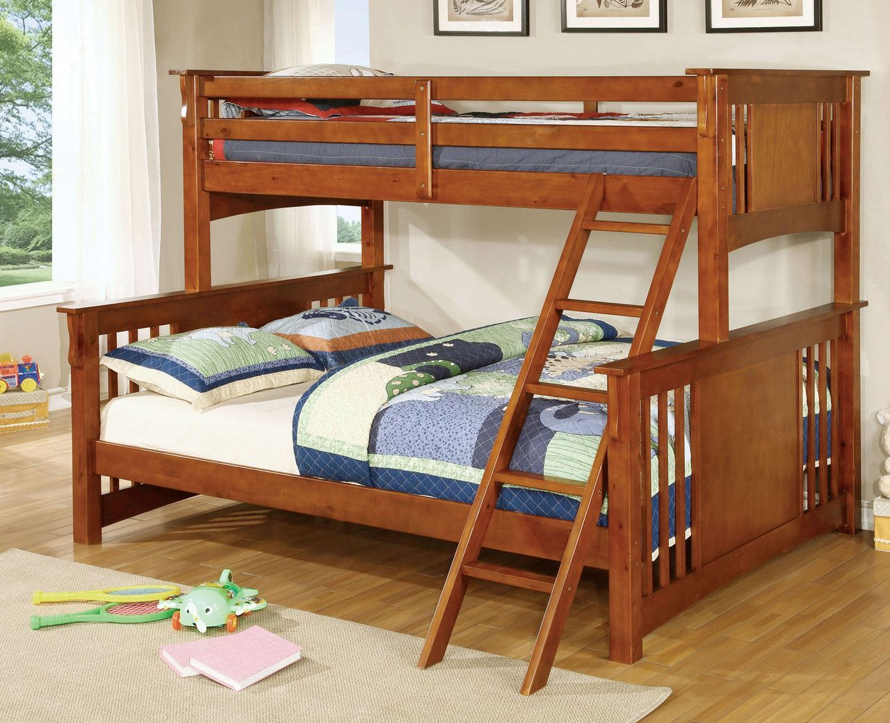 Queen loft bed with stairs  Twin XlQueen Bunk Bed In Oak Spring Creek Collection  Buy it