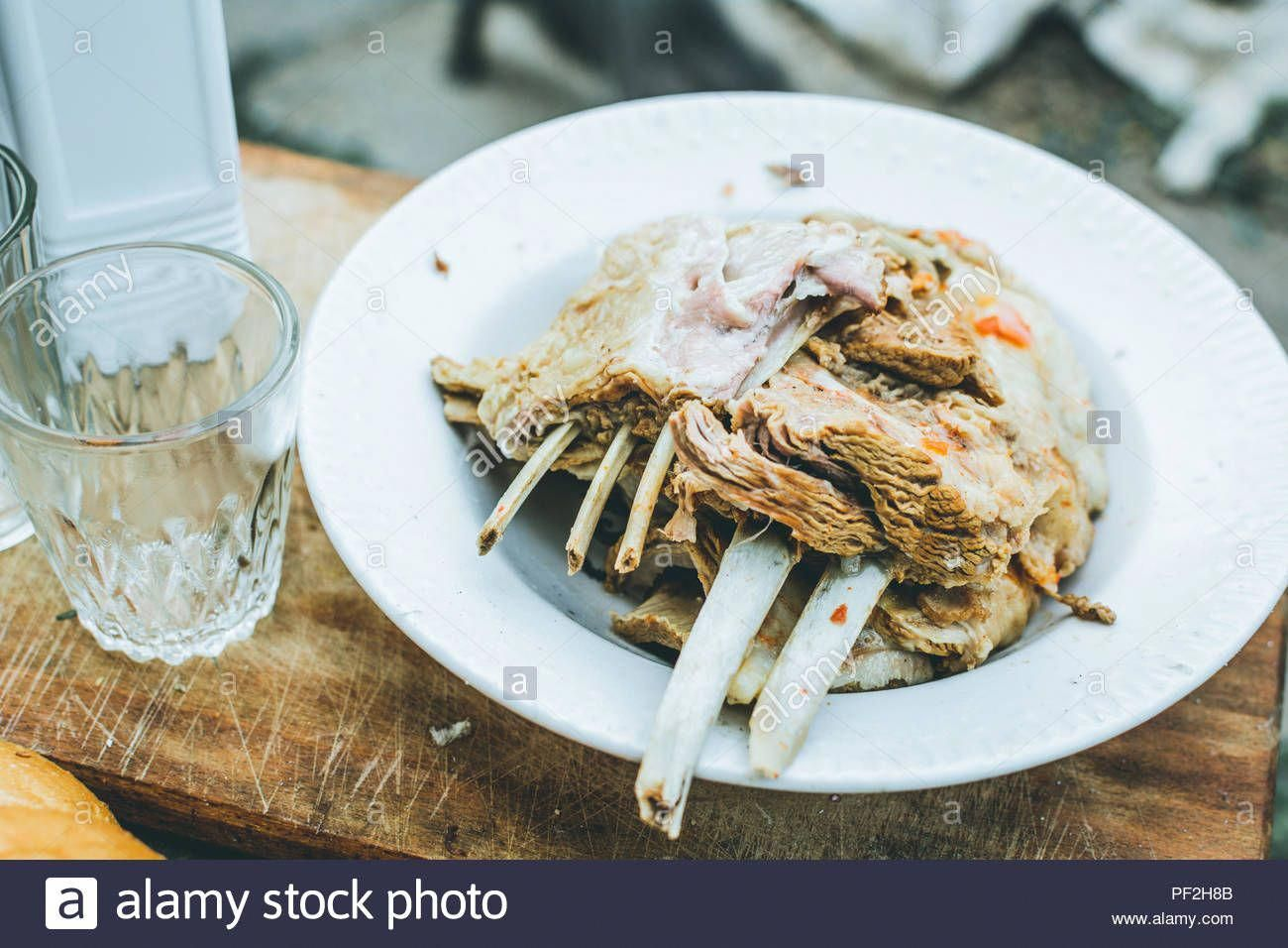 Photo of Download this stock image: Boiled lamb in a plate on a woode…