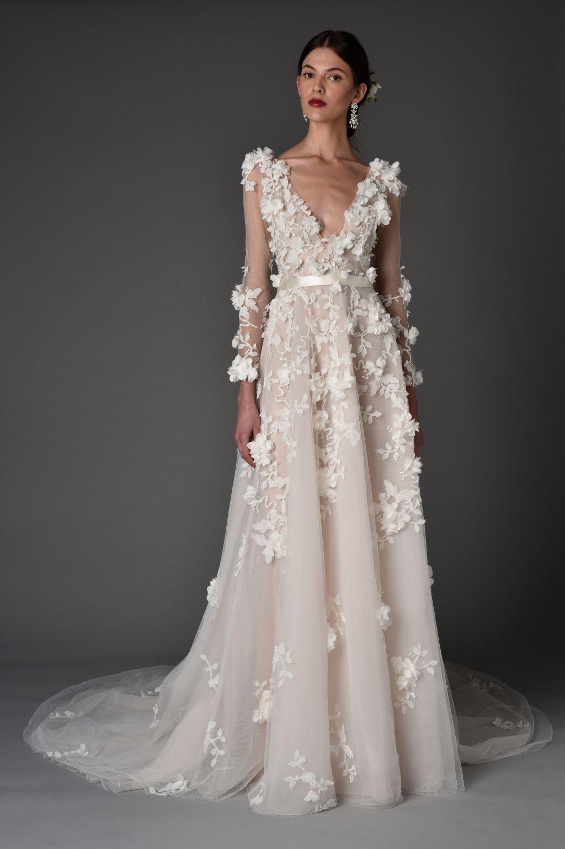 Vintage lace champagne wedding dress  Marchesa Bridal Spring   Marchesa bridal Rodin and Marchesa