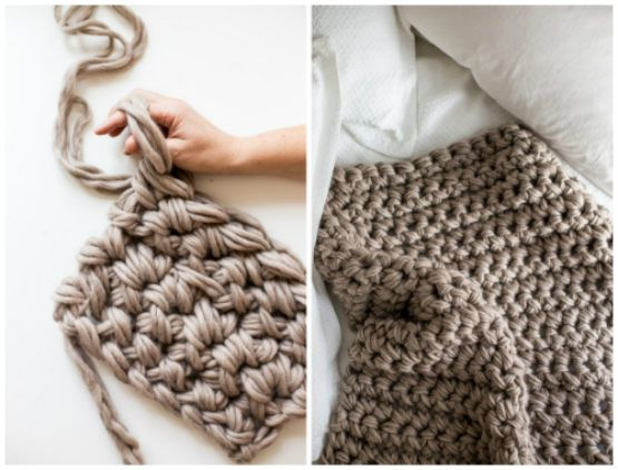 How To Hand Crochet A Gorgeous Blanket In An Hour   DIY   Pinterest