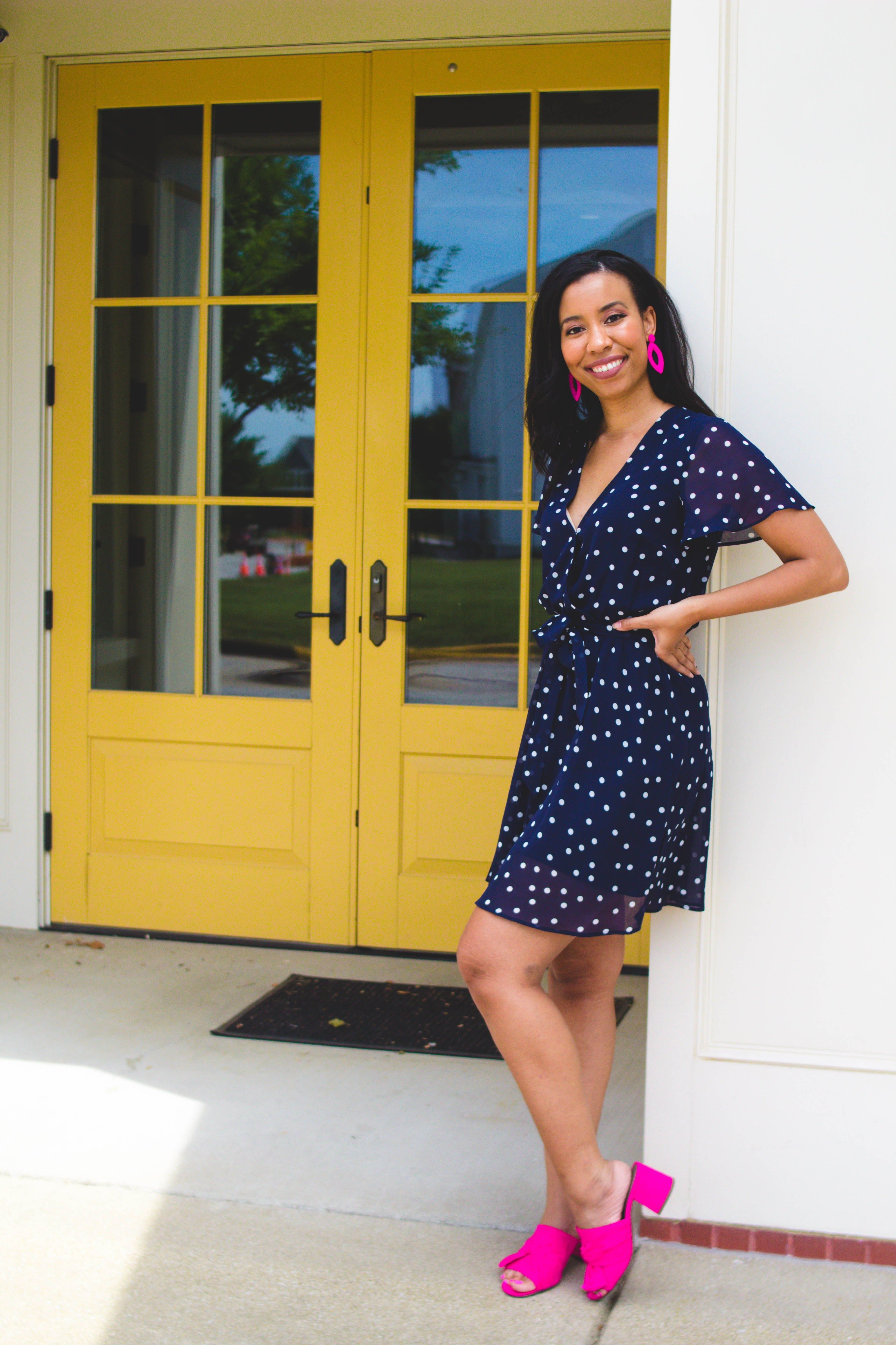5 Things We Can Learn From Bachelor In Paradise Lifestyle Blogger Polka Dot Dress Outfit Dot Dress Outfit Hot Pink Outfit [ 5184 x 3456 Pixel ]
