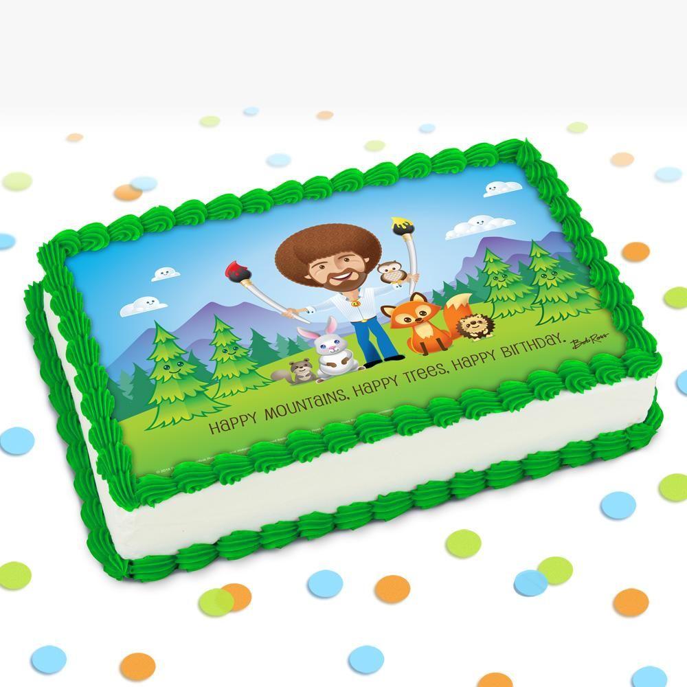 Bob ross and friends icing decoration quarter sheet cake