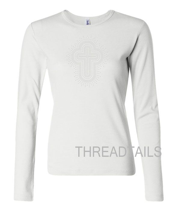 Long Sleeve White Fashion Form Fitting Ladies T Shirt With