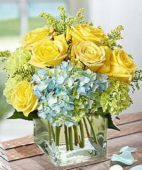 Seaside Blooms Yellow Flower Arrangements Get Well Flowers