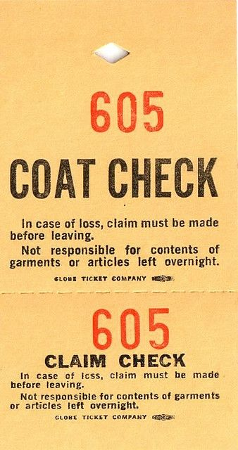 Coat Check ticket - Free to use! Check, Vintage type and Fonts - free ticket printing