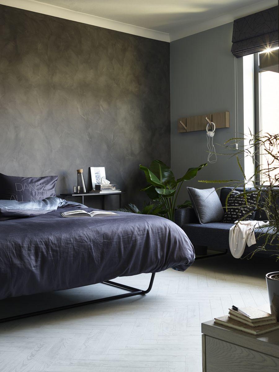 Dark Walls, White Herringbone Floors Ft. BerryAlloc Chateau Laminate In  White Chestnut #bedroom