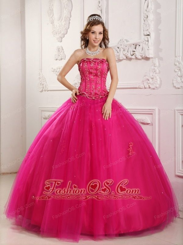 4116c6ffb01 Elegant Hot Pink Quinceanera Dress Strapless Tulle Beading Ball Gown  http   www.