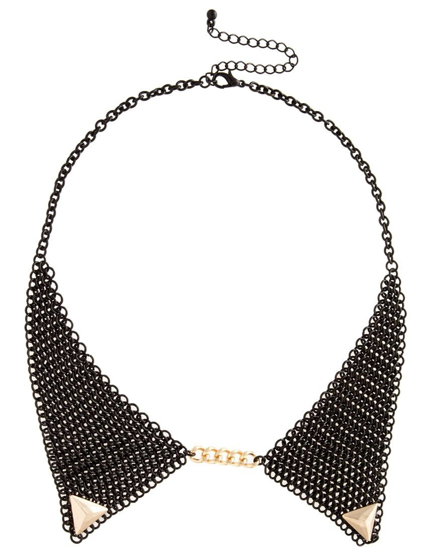 Mesh Gold Tipped Collar Necklace