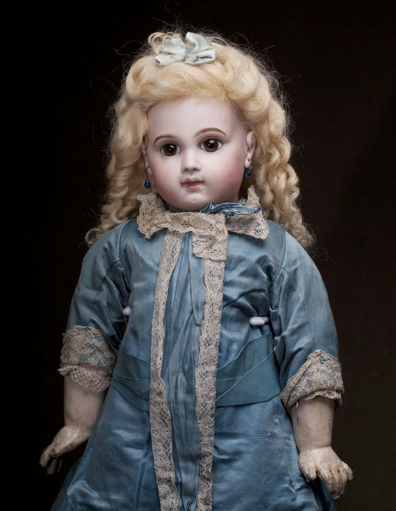 "20"" Very Beautiful Antique French Early Bisque Bebe E.J. Doll by Emile Jumeau in original dress, Size 9"