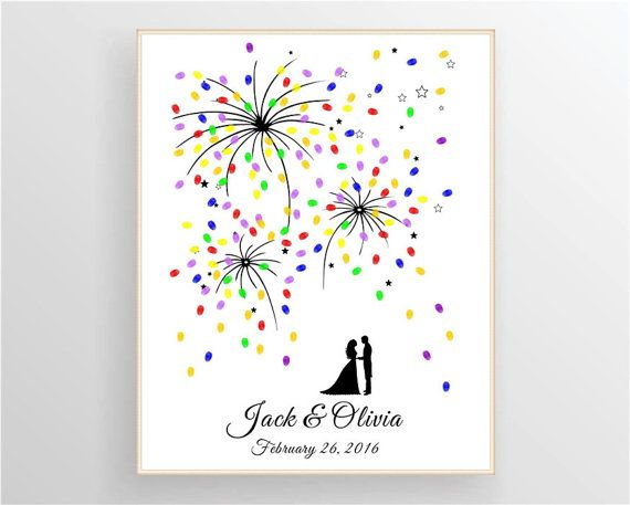Couple Fingerprint Fireworks Sparks Guest Book For Dream Wedding Anniversary Digit Wedding Guest Book Wedding Guest Book Alternatives 25 Year Anniversary Gift