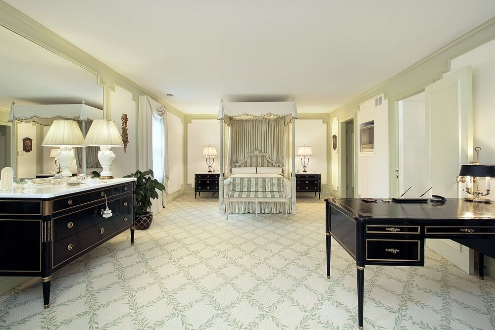 Large ornate bedroom in white, mint green and dark brown | Bedroom on luxurious master kitchen, luxurious living room designs, luxurious foyer decorating ideas, luxurious bedroom sets, luxurious modern bedrooms, loft bedroom decorating ideas, luxurious master bedroom furniture, luxurious master beds ideas, luxurious master bathroom,