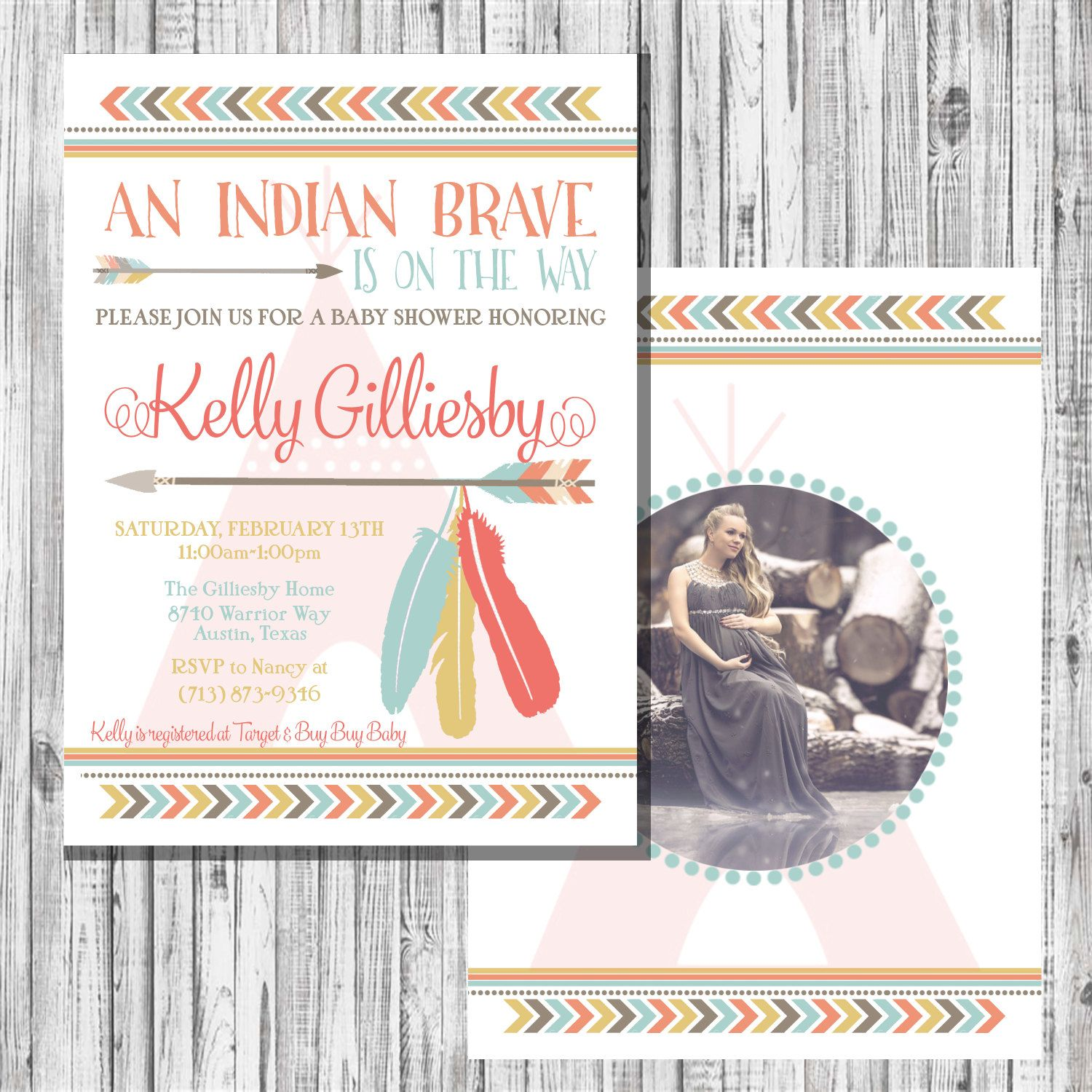 Indian Brave Baby Shower Invitation by LettersfromTexas on Etsy ...