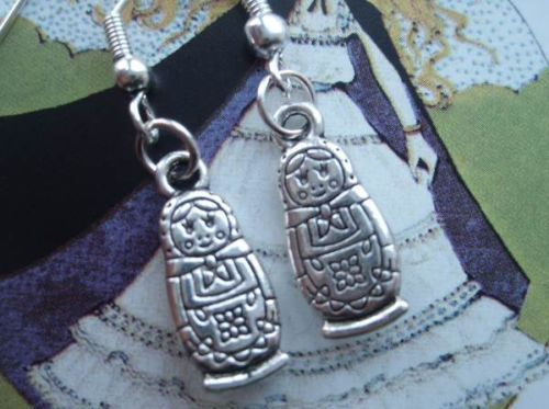 CUTE SILVER PLATED MINI RUSSIAN DOLL EARRINGS