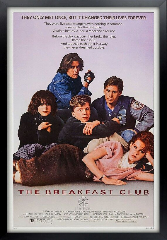 The Breakfast Club, Full Size Movie Poster, Framed and Ready to Hang.