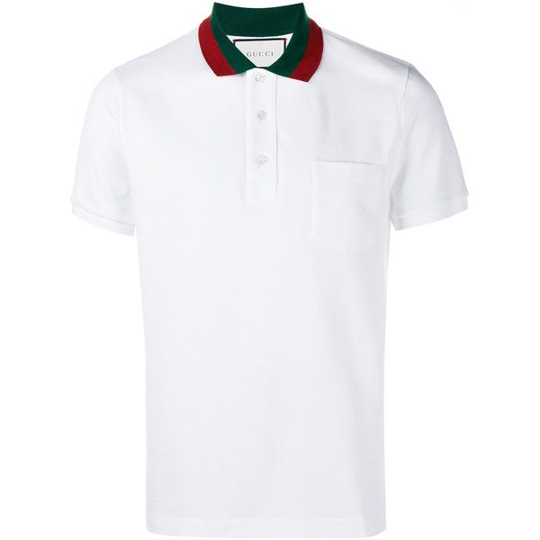 Gucci Gucci Web Collar Polo Shirt (17,190 DOP) ? liked on Polyvore  featuring men