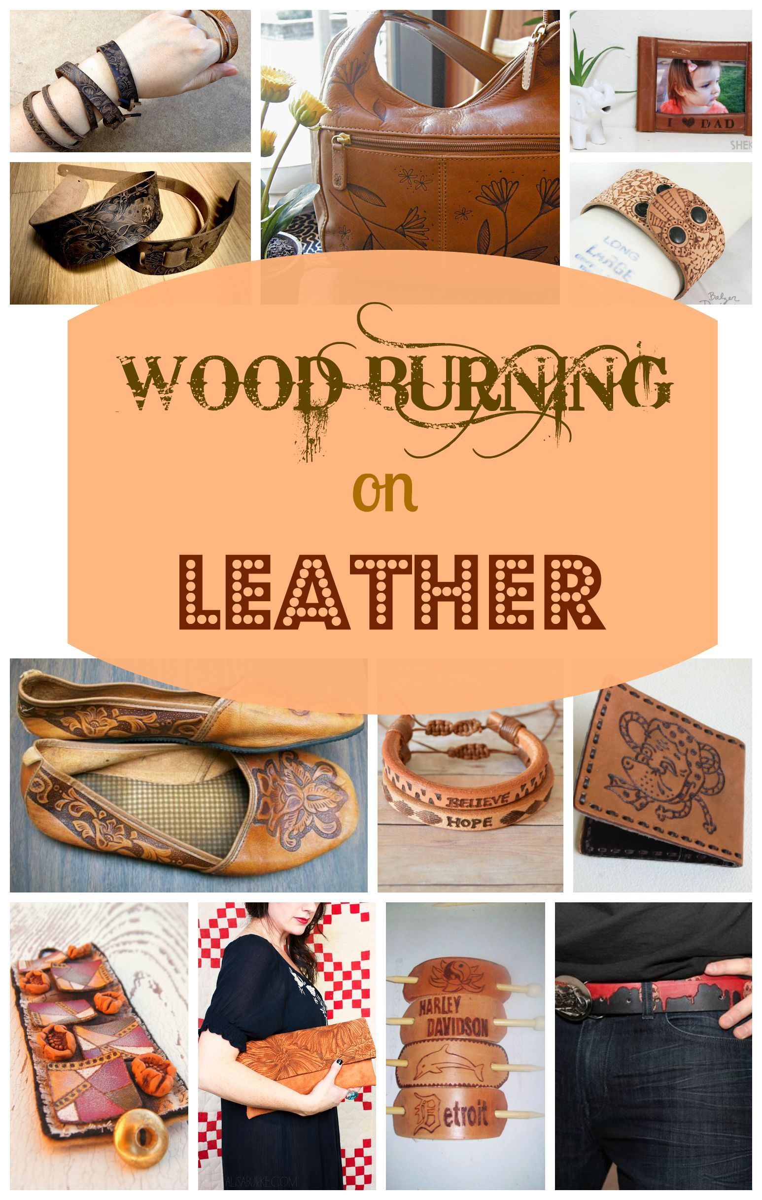 wood burning on leather | leather craft ideas | pinterest | wood