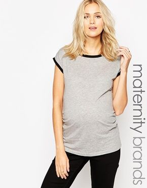 New Look Maternity Contrast Binding Tee