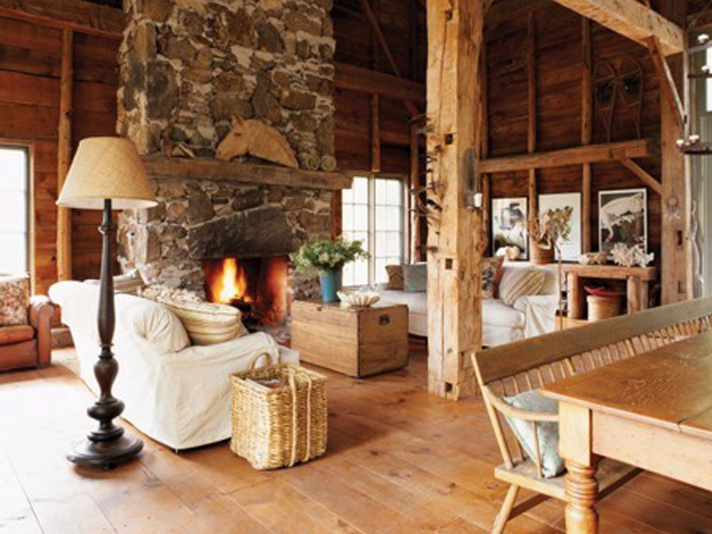 Awesome Interior Rustic Living Room Ideas Using Natural Stone Fireplace Mantel