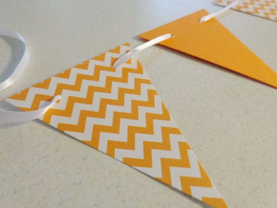 Orange Chevron Banner- Perfect for a birthday party, baby shower, or fall decor!