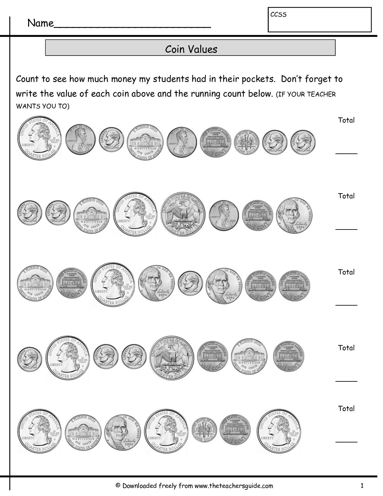 medium resolution of Counting Coins Worksheets from The Teacher's Guide   Money worksheets
