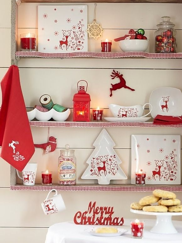 red and white christmas bits and bobs