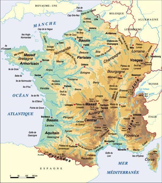 carte de france avec les montagnes
