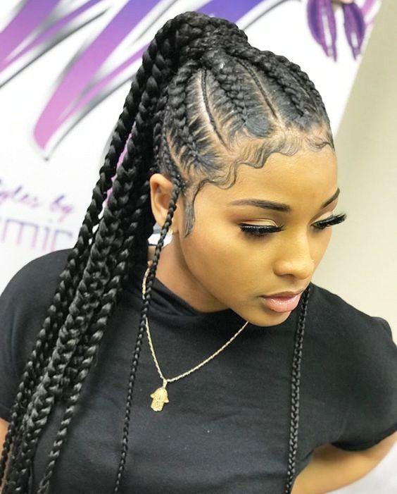 Geflochtene Pferdeschwanz-Frisuren für schwarzes Haar » Frisuren 2020 Neue Frisuren und Haarfarben #ponytailhairstyles