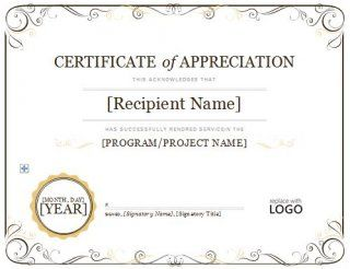 Download Certificate Of Appreciation   Letter Sample
