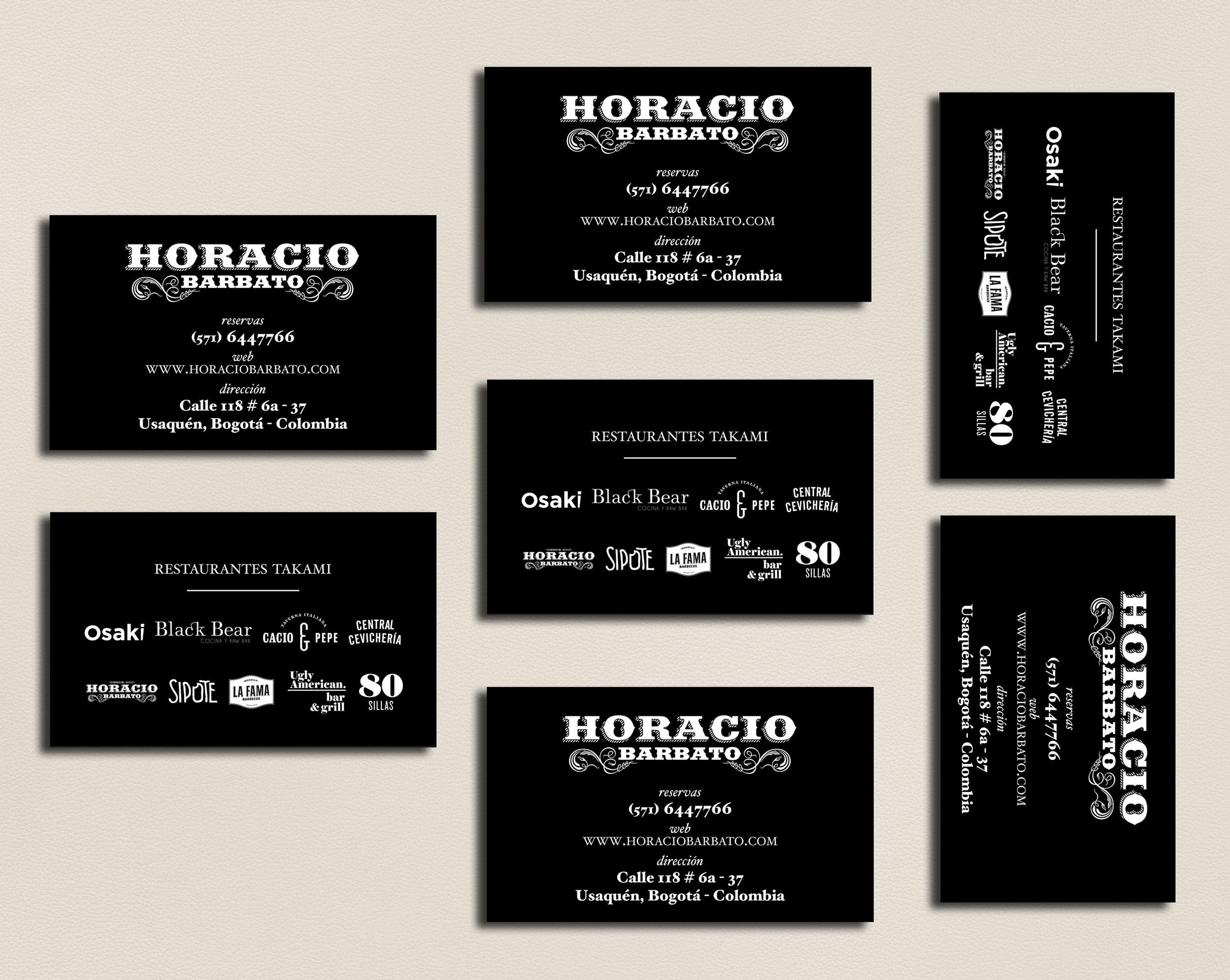 tarjetas de presentación para HORACIO BARBATO 1 tinta tiro / 1 tinta retiro / impresión screen. tinta polietileno / plike negro impreso por: www.eltigre.info