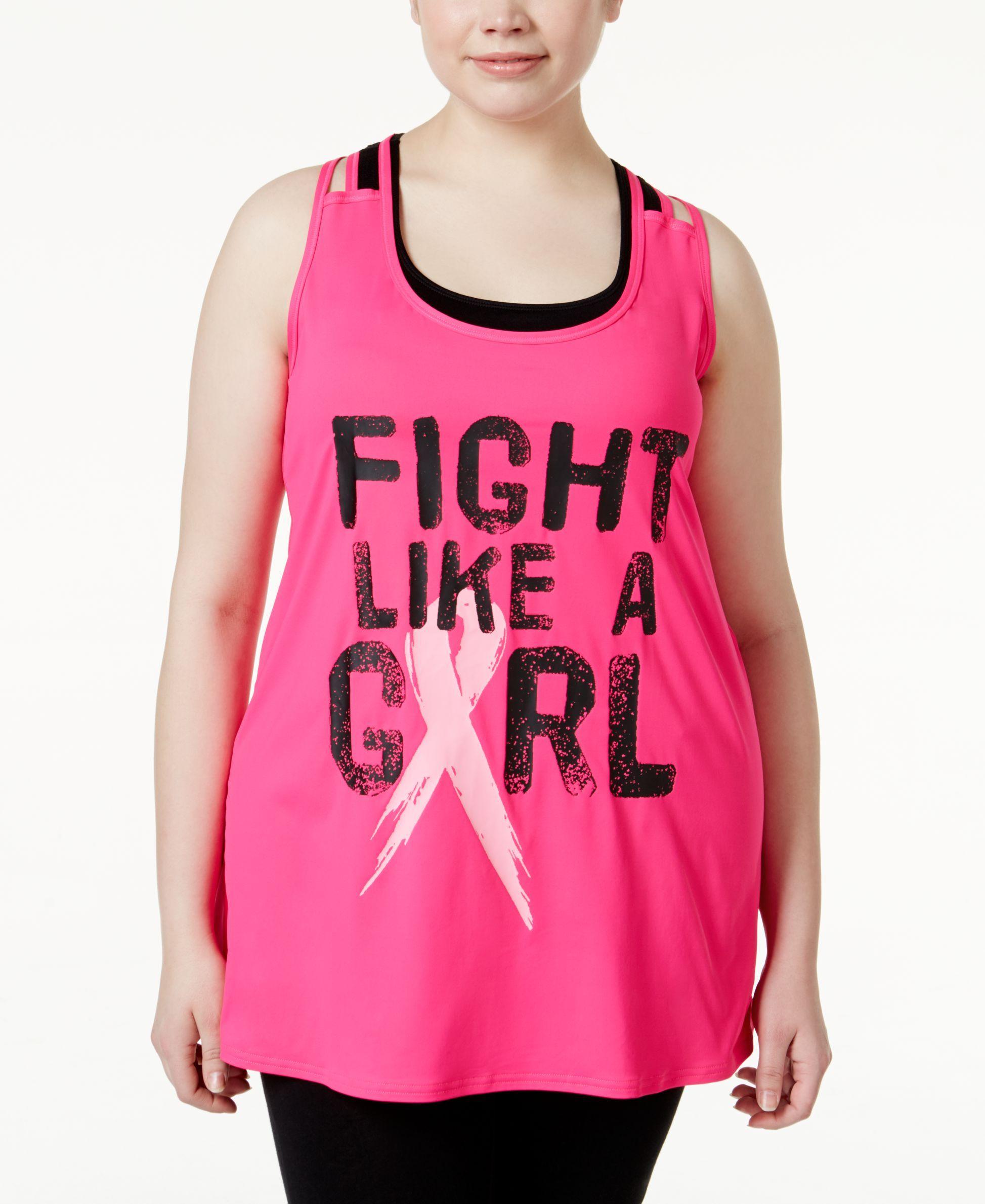 1772577e085 Ideology Plus Size Pink Ribbon Graphic Tank Top