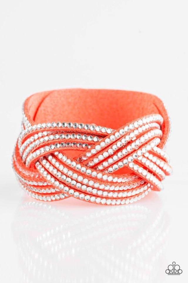 """Paparazzi """"Big City Shimmer"""" Orange Coral Suede White Rhinestone Wrap Bracelet"""