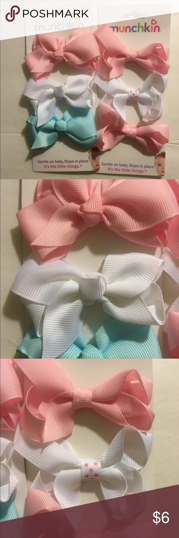 Set of 6 clip in bows 3 pink bows (2 with tiny polka dots in center) 2 white ( one with polka dots), and one plain light blue. Munchkin Accessories Hair Accessories